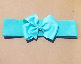 Turquoise headband with bow
