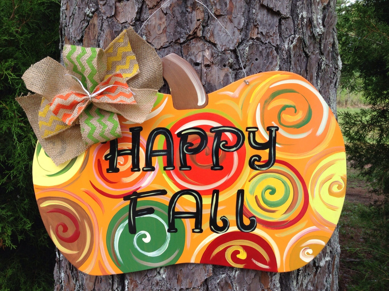 Fall Pumpkin door hangerFall door decor personalized door