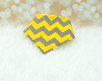 60% OFF SALE! Baby Bandana Drool Bib - Big Yellow/Grey Chevron ||| bibdana, drool bib, dribble bib, drool bandana, special needs bib