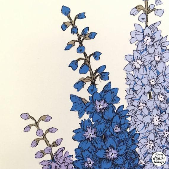Delphinium art print for the Flower Power Fund