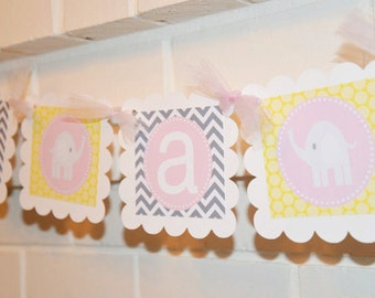 It's a Girl Elephant banner, elephant baby shower, elephant party banner, it's a girl banner, Elephant baby shower, elephant banner,