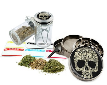 "Sugar Skull - 2.5"" Zinc Alloy Grinder & 75ml Locking Top Glass Jar Combo Gift Set Item # G021615-038"