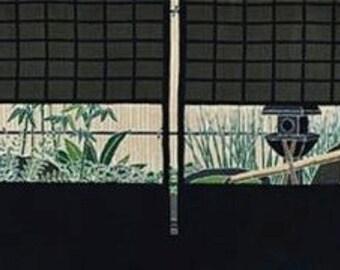 Japanese Garden Motif Tenugui 'Inner Garden' Tsubo Niwa in Summer Japanese Fabric w/Free Insured Shipping