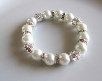 White pearl bracelet with rhinestones and rondelle spacers, bridal bracelet, bridesmaid bracelet, bridal shower gift, bridesmaid gift