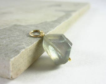 M - Grey Labradorite Pendant - Flashy Labradorite Jewelry - Sterling Silver Charms - Healing Crystals and Stones - JustDangles Jewelry
