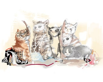 Cats Playing Dress up Greeting Card - 5x7 Greeting Card - Frameable Card