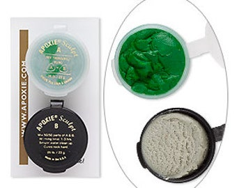 KIT includes: 46 g GREEN Apoxie Sculpt & 25 Snap Bases -  DIY, Snap Jewelry, Aves, Apoxie Sculpt, Clay Snaps, Found Objects, Steampunk