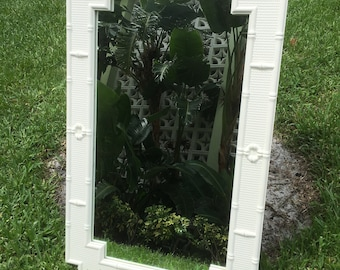 BAMBOO FOR YOU / Wonderful Condition True White Faux Bamboo Omega Mirror / Geometric Design / Palm Beach Chic