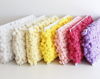Regular 1 inch Pom Pom Trim Choose Your Color- 3 yards