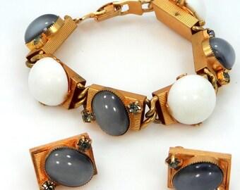 1960's Gray Moonstone Color Glass & Milk Glass Bracelet and Earrings