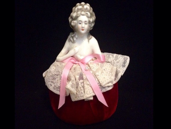 FREE SHIPPING-Darling-Vintage-Austrian-Art Deco-Porcelain-Lady Figural-Pin Cushion