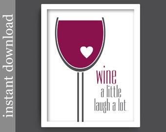 Wine Printable, wine download, wine decor, wine lover gift, alcohol print, bar art, wine art, wine glass art, wine print, burgundy and gray
