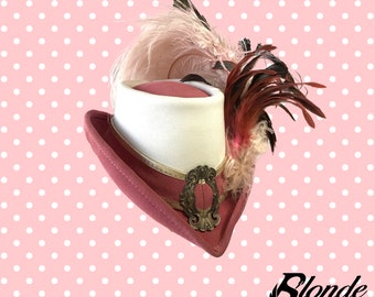Dusty Rose and White Riding Hat