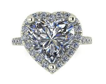 Heart Engagement Ring| Forever Brilliant Moissanite| Diamonds| White Gold