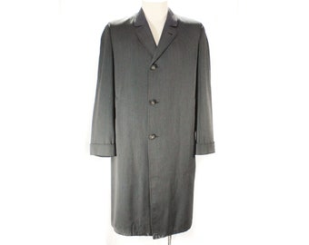 Men's Large Gray Gabardine Coat - Mid Century 50s Overcoat - Sharkskin Lining - Mens Single Breasted Classic - Botany - Chest 46 - 50222