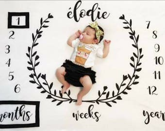 Baby Milestone Blanket, Monthly Milestones, Baby Milestones, Milestone Blanket, Baby Photo Prop, New Baby Gift, Baby Shower Gift, Baby Gift