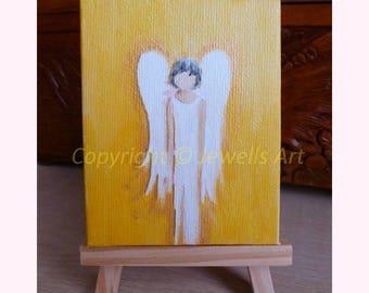 Little Angel Miniature Canvas. Yellow, Gold and White Tiny Original Painting, Miniature Artwork, Spiritual Art, Healing Art & Collectibles