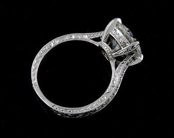 Moissanite Engagement Ring, Pave Diamond Ring, 2CT Round Forever One Moissanite Ring, Hand Carved Milgrain Ring, Vintage Style Platinum Ring