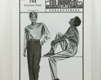 Stretch & Sew Pleated Pant Pattern, Ann Person Collectibles #744 Comfort Pant, Hip 32 to 48, Uncut