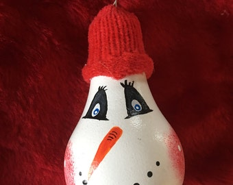 Snowman Hand-Painted Lightbulb Ornament