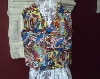 Childrens Marvel comic vest, wedding vest, Spider Man, Hulk, Marvel comic characters