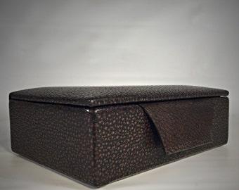 Vintage genuine steer leather Jewelry Travel Case