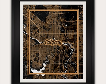 Calgary - Alberta - Canada - Minimalist City Map Art Print - 11x14 Inches - Office Living Room Alternative Art Deco Home Decor Poster