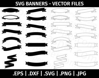 Banners SVG Vector Clip Art Bundle - Cut Files for Cricut, Silhouette - eps dxf svg png jpg - Design Elements, Decorative, Ribbon Banners