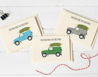 Set of 3 Landrover Defender Christmas greetings cards- choose your colour