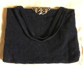 VINTAGE 1950's Saks Fifth Avenue made in France beaded clutch