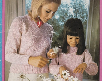 Patons Like Mother, Like Daughter in Sea Urchin ot Totem 8 ply Knitting Pattern No 920 - Vintage 1970's