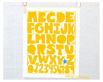 ABC Alphabet Wall Art, Children's Room Decor, Print, Raw Art Letterpress