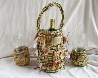 Basket Redesign Seaside Nautical Shells Wine and Glass Caddie Serving Set Ocean Beach Side Redesign Wine or Water Serving Basket Tote Set