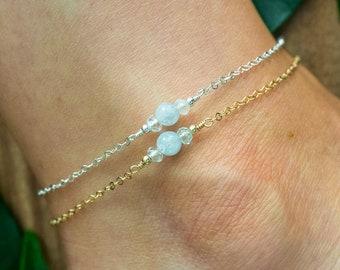 Aquamarine ankle bracelet. Aquamarine anklet. Blue anklet. Handmade jewelry. Gemstone anklet. Boho crystal anklet. March birthstone anklet