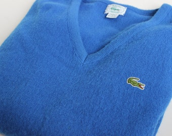 Vintage IZOD Lacoste Royal Blue Mens V Neck Sweater Alligator Sweater Size Large L Retro Golf Sweater Country Club Attire Resort Wear