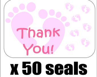 """50 Pink Baby Feet Thank You Envelope Seals / Labels / Stickers, 1"""" by 1.5"""""""