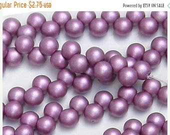 ON SALE 6mm Top Hole Bead,  Satin Metallic Magenta, (29428), 25 count