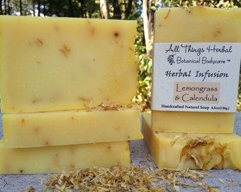 Lemongrass Handmade Soap - A Lemony Herbal Infusion Bar - Handcrafted Natural Soap - Sunshine in a Bar, Cold Process Soap