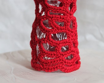 Red Freeform  Crochet Cuff -  Bracelet - Boho Chic - Gypsy, Hippie