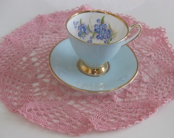 ENGLISH CLARE HARLEQUIN Blue Cup and Saucer, Bone China.