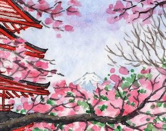 ACEO Original Watercolor Painting-Chureito Pagoda in Spring,Mt.Fuji,Japan/Cherry Blossom Trees/ATC