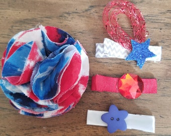 Red white blue hair clips