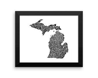 Michigan typography map art FRAMED print customizable personalized custom state poster wall decor engagement wedding housewarming gift