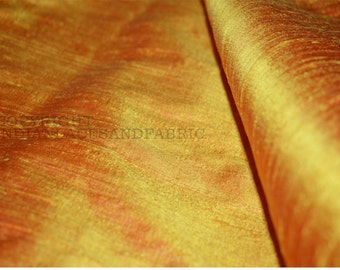 Iridescent Yellow and Red dupioni silk fabric yardage - Indian dupioni silk for wedding dresses