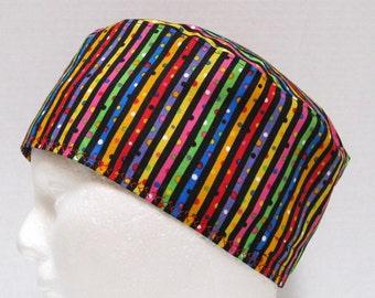 Scrub Hat Mens or Sugical Cap in Bright Rainbow Stripes on Black