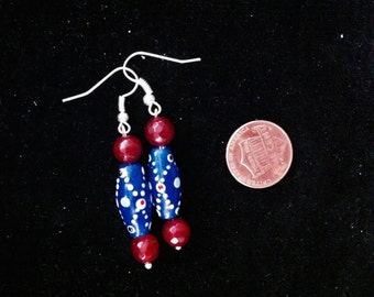 "Blue and Red Beaded Earrings, Beaded Earrings, Blue Earrings, Ready to Ship, Gift for Her, 1.5"" Long Earrings"