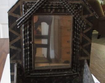 Vintage Folk Art Twig Shelf with Mirror Primitive Tramp Art Adirondack Lodge