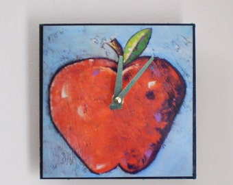 Red Apple Clock, Teacher gift, Fruit, Functional Art, Whimsical Clock, Red Apple, Teacher Appreciation, Home Decor