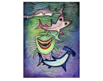 "SHARKS Original Ocean Painting Made to Order Watercolor & Ink Painting on Watercolor Paper Fish Painting ""Tornado Sharks""  by Alisa"