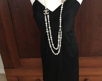 38 / Deena / Black Full Slip / Vintage Lingerie / Large